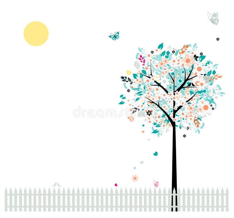 Árvore floral bonita, pássaros na cerca