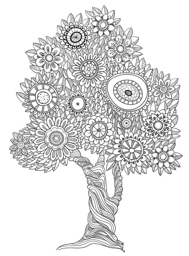 Árvore floral da garatuja ilustração do vetor