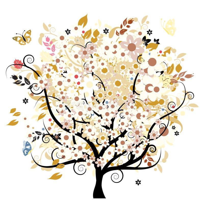 Árvore floral de Bautiful ilustração stock