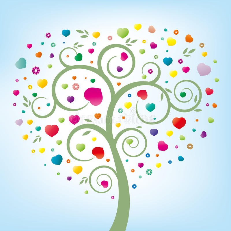 árvore floral e coração ilustração do vetor