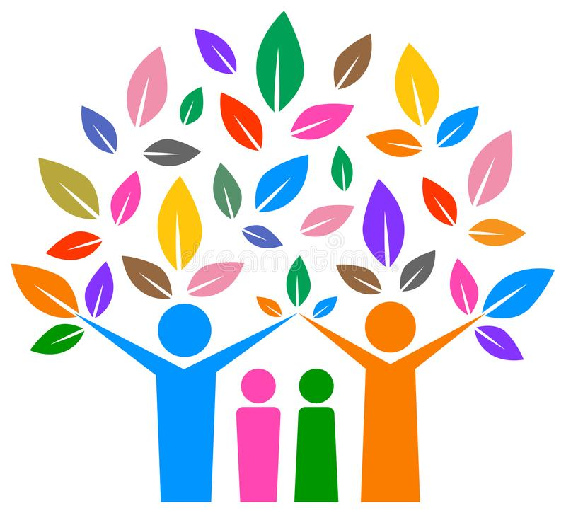 Árvore genealógica feliz com projeto colorido ilustração do vetor