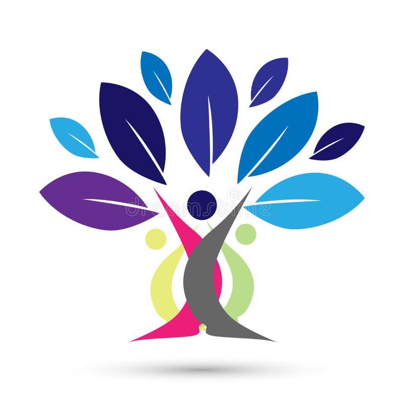 Árvore genealógica feliz com projeto colorido no fundo branco ilustração royalty free