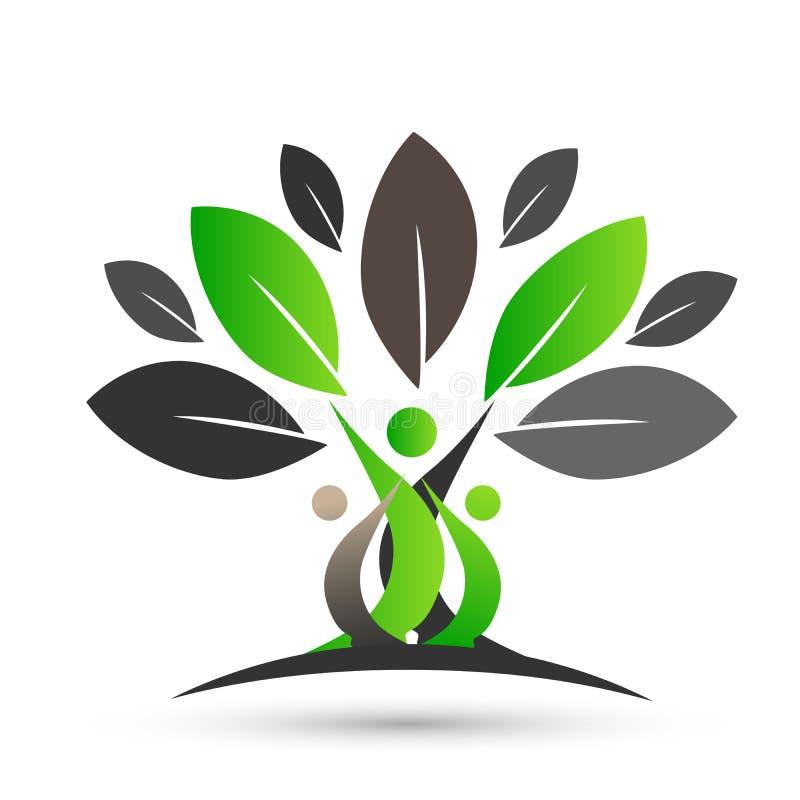 Árvore genealógica feliz com projeto colorido no fundo branco ilustração stock