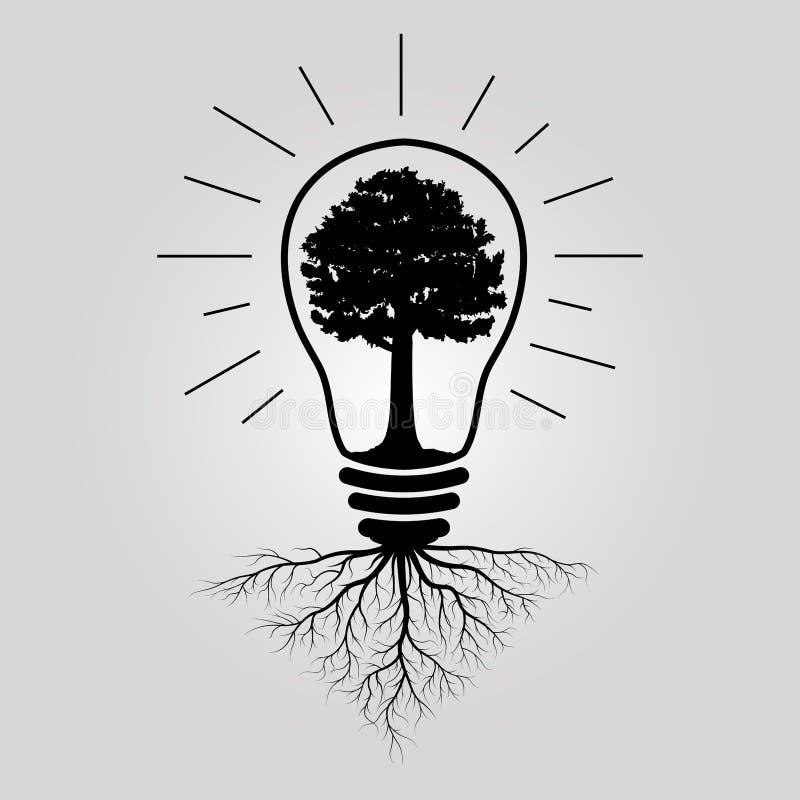 Árvore grande na ampola ilustração do vetor