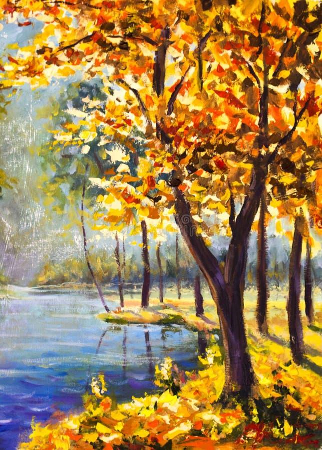 Árvore handpainted original do outono da pintura a óleo na lona - pintura colorida da árvore alaranjada - arte moderna do impress ilustração stock
