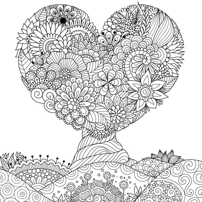 Árvore Hearted da forma para o laço, o cartão dos Valentim, a etiqueta da parede, o livro para colorir, a página colorindo e o ou ilustração royalty free