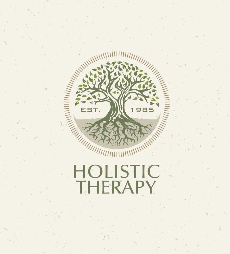 Árvore holística da terapia com raizes no fundo de papel orgânico Conceito amigável natural do vetor da medicina de Eco ilustração royalty free