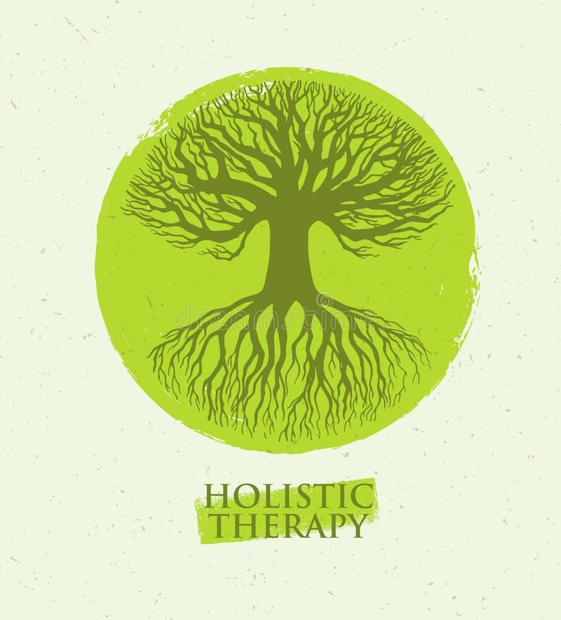 Árvore holística da terapia com raizes no fundo de papel orgânico Conceito amigável natural do vetor da medicina de Eco ilustração stock