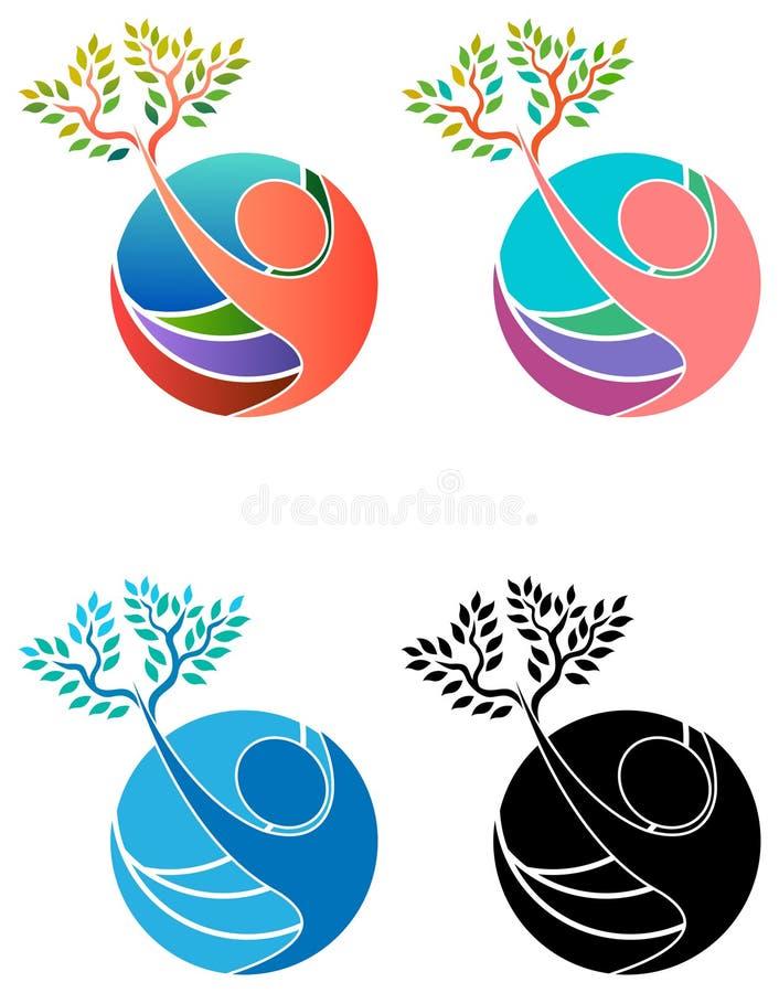 Árvore humana com glob ilustração royalty free