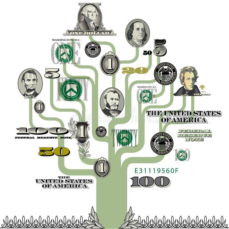 Árvore ilustrada do dinheiro ilustração do vetor