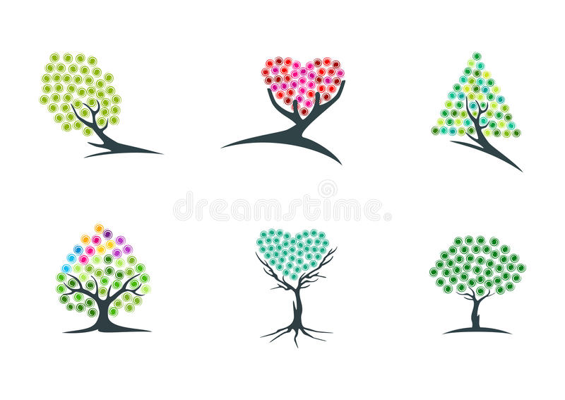 Árvore, imaginação, logotipo, sonho, planta, ícone, verde, coração, esperança, símbolo, e projeto hypnotherapy do vetor da nature ilustração stock