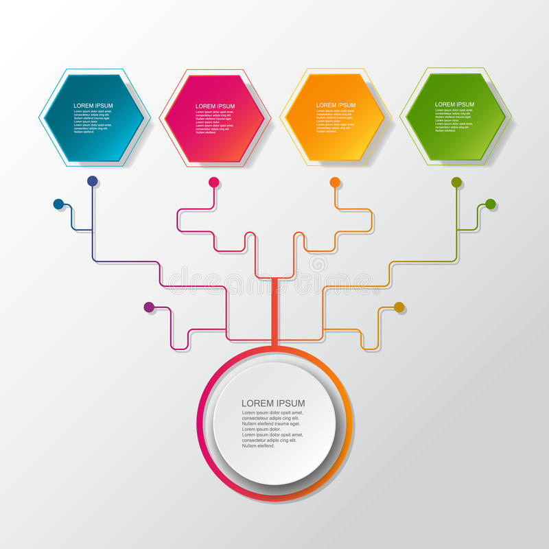 Árvore infographic do negócio do vetor com etiqueta do papel 3D, círculos integrados Espaço vazio para o índice, negócio, infogra ilustração stock