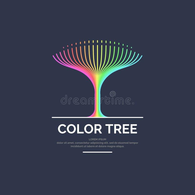 Árvore linear colorida brilhante moderna do logotipo ilustração do vetor