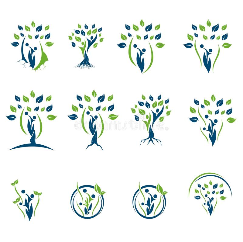 Árvore Logo Icon Collection da planta verde imagem de stock