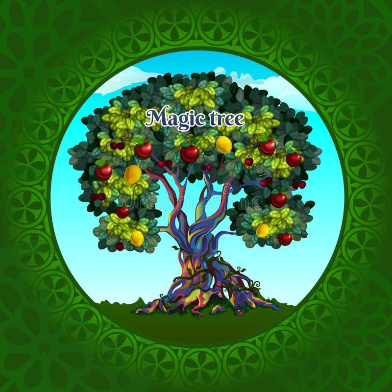 Árvore mágica com maçãs e limões ilustração do vetor