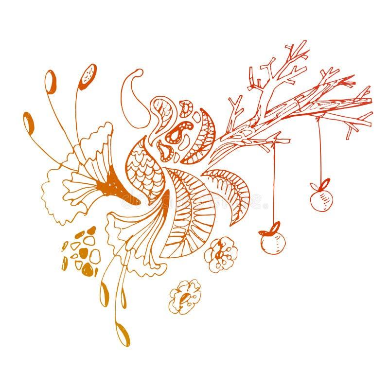 Árvore mágica do doddle bonito com maçãs ilustração do vetor