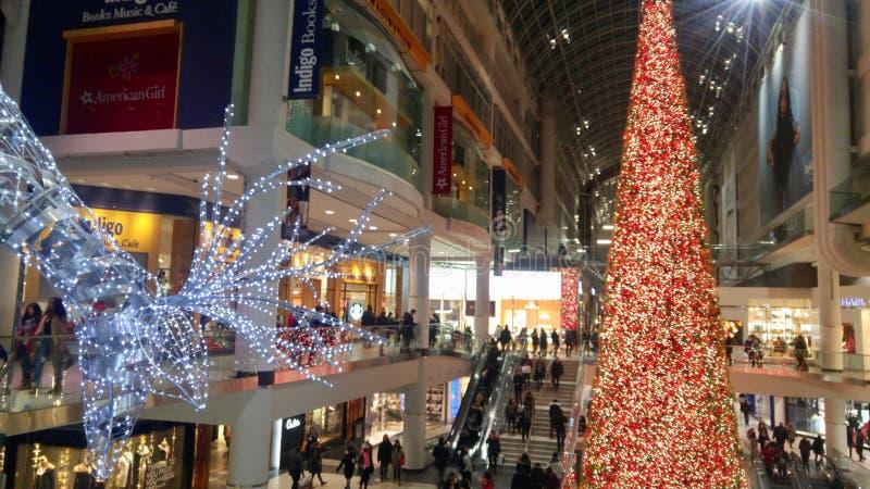 Árvore maciça da rena e de Natal que ilumina a maneira para clientes em uma alameda foto de stock royalty free