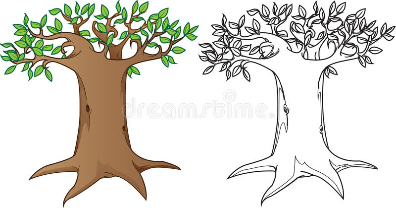 Árvore misteriosa gigante, na cor e na versão branca preta ilustração do vetor