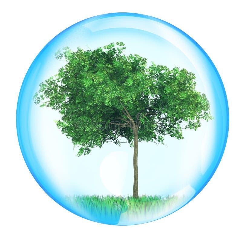 Árvore na esfera ilustração stock