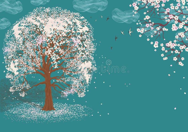 Árvore na flor ilustração royalty free