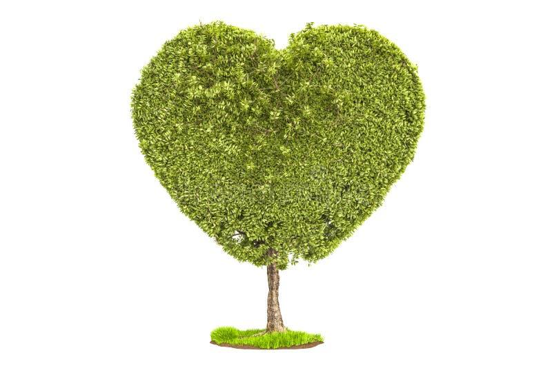 Árvore na forma do coração rendição 3d ilustração stock