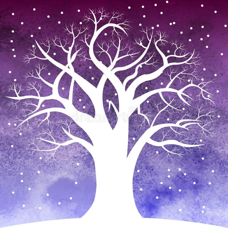 Árvore na neve durante a noite foto de stock