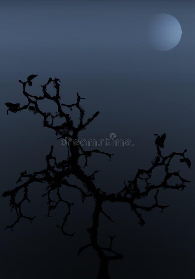 Árvore na noite ilustração royalty free