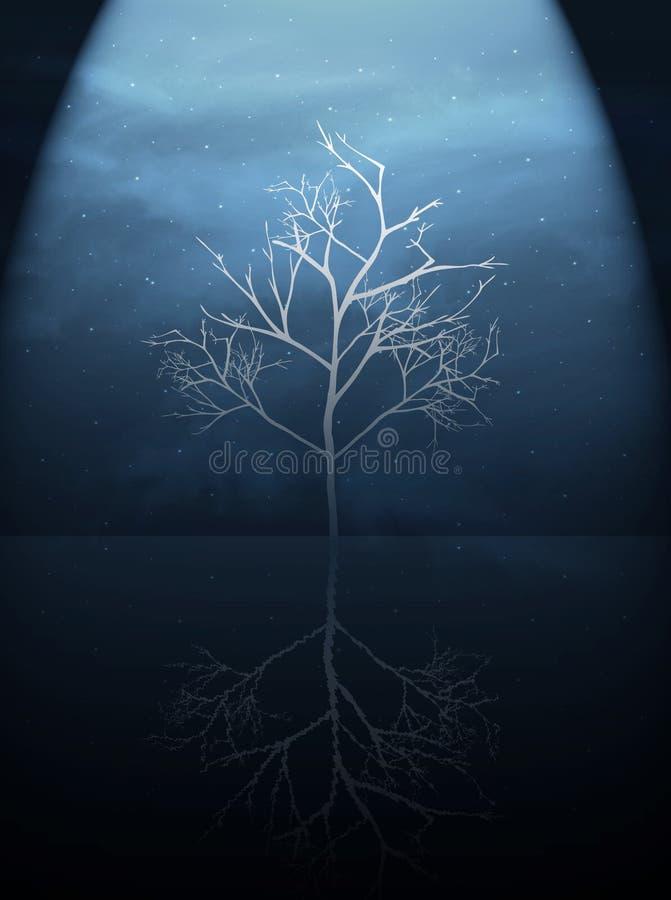 Árvore na obscuridade fotos de stock royalty free