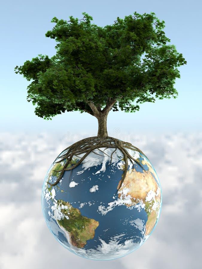 Árvore na terra do planeta ilustração stock