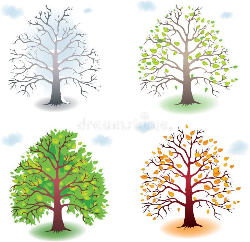 Árvore nas estações ilustração royalty free