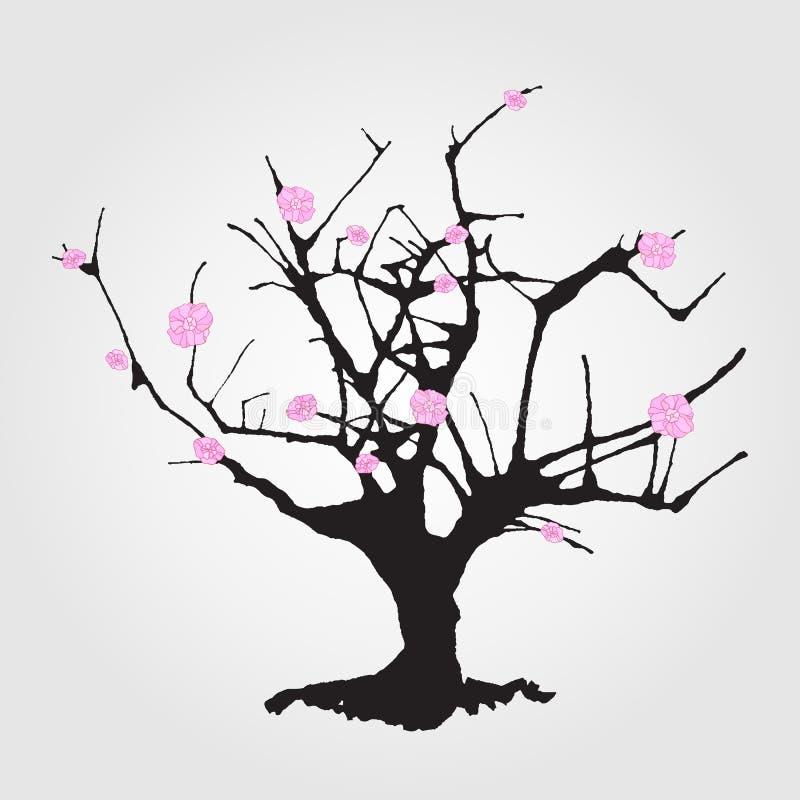 Árvore no estilo chinês ilustração do vetor