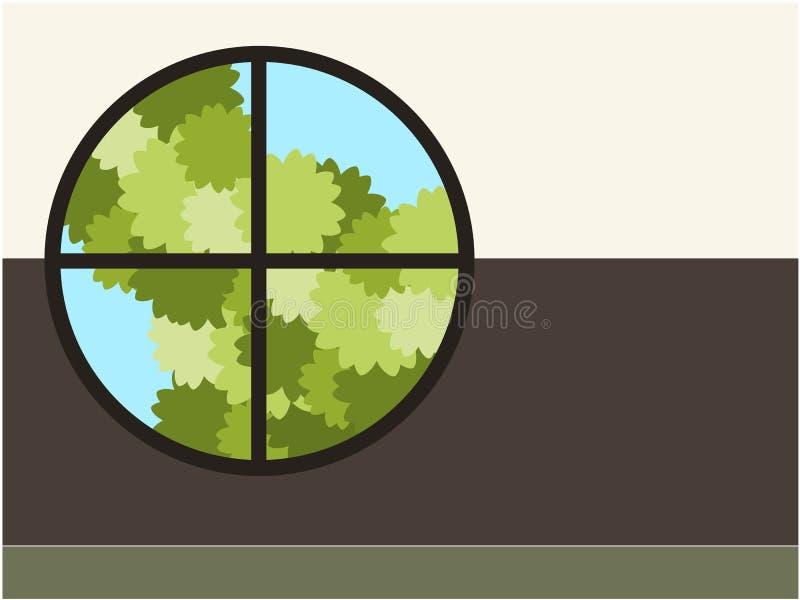 Árvore na ilustração do fundo das janelas ilustração do vetor