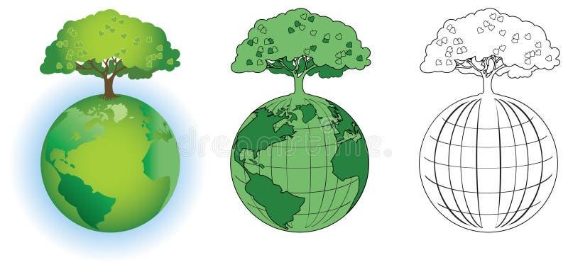 Árvore no globo ilustração do vetor