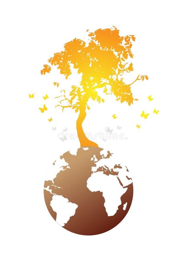 Árvore no globo do mundo ilustração royalty free