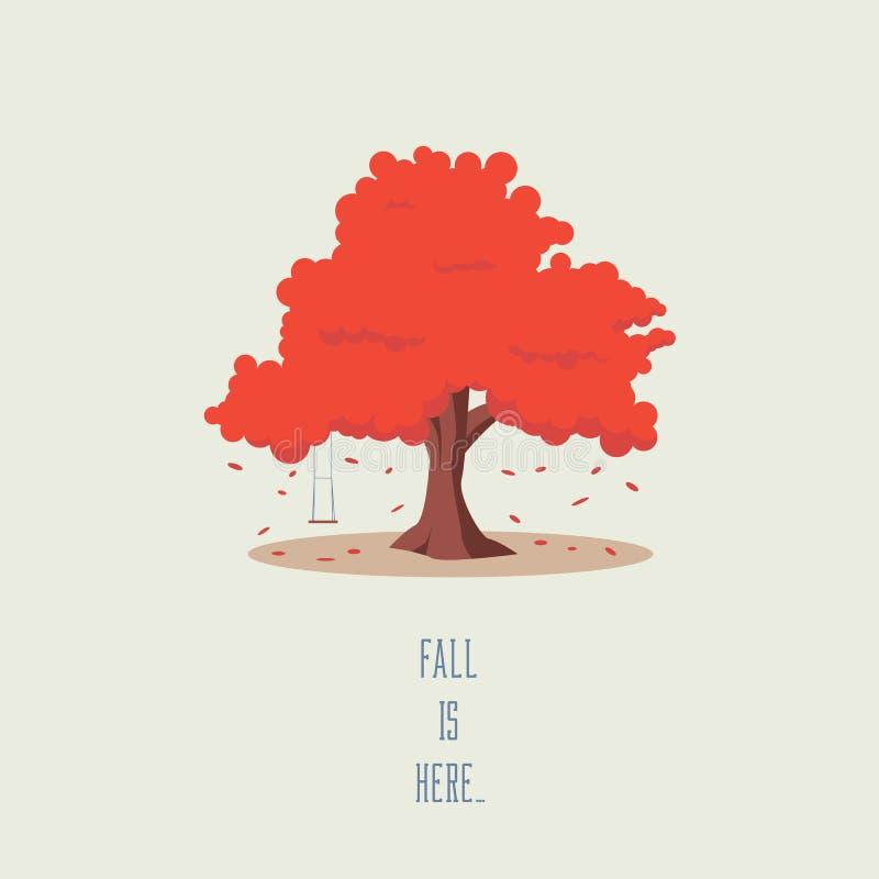 Árvore no outono Símbolo da queda com balanço vazio e as folhas de queda Folha sazonal alaranjada ilustração royalty free