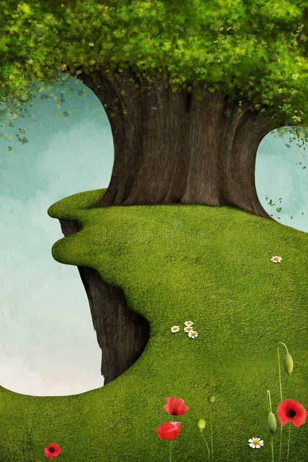 Árvore no penhasco ilustração royalty free