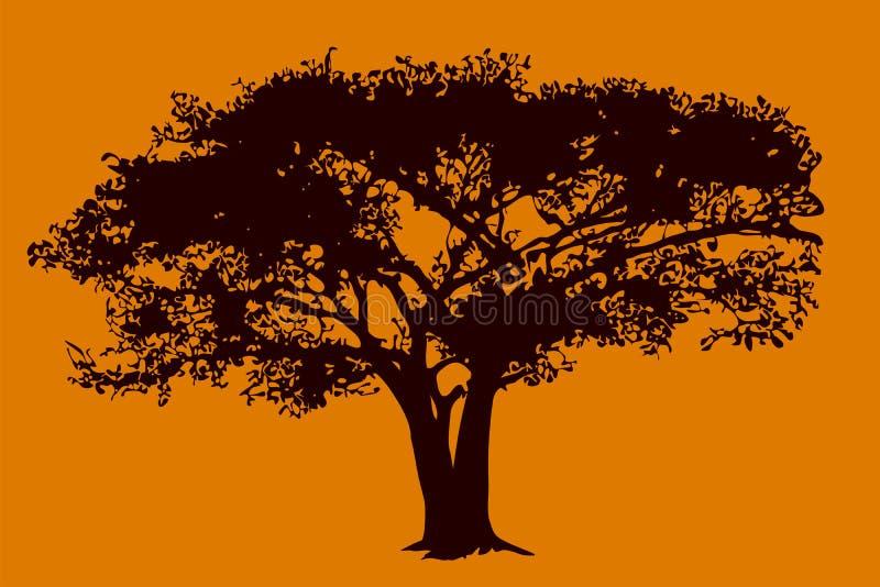 Árvore no savanna ilustração royalty free