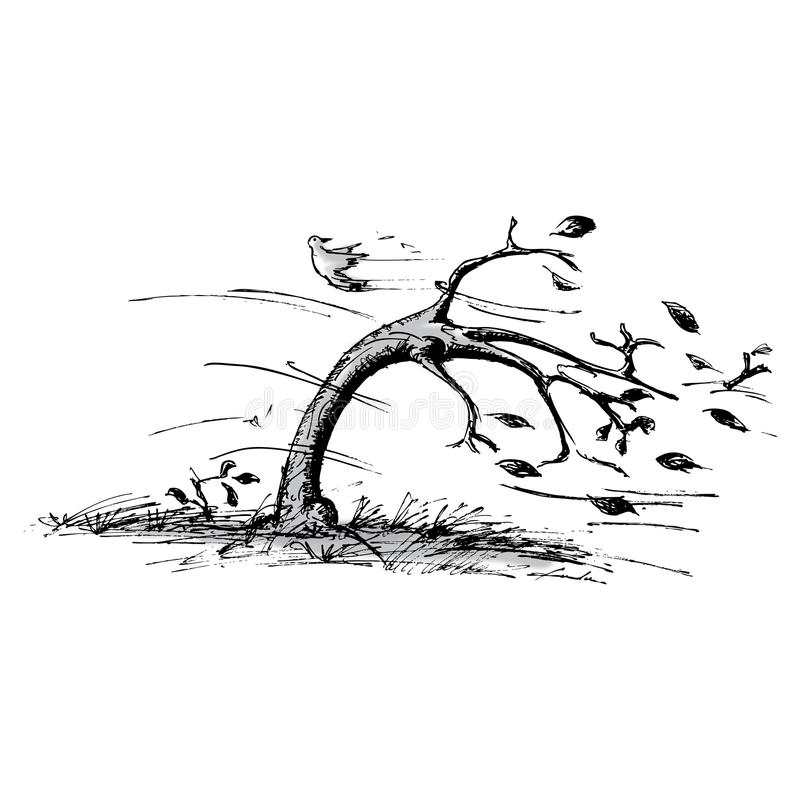 Árvore no vento ilustração stock