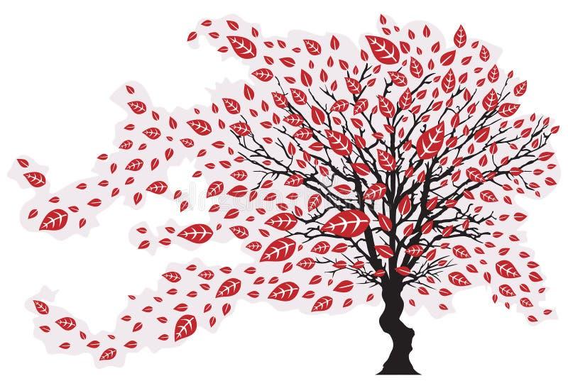 Árvore no vento com folhas de queda ilustração stock