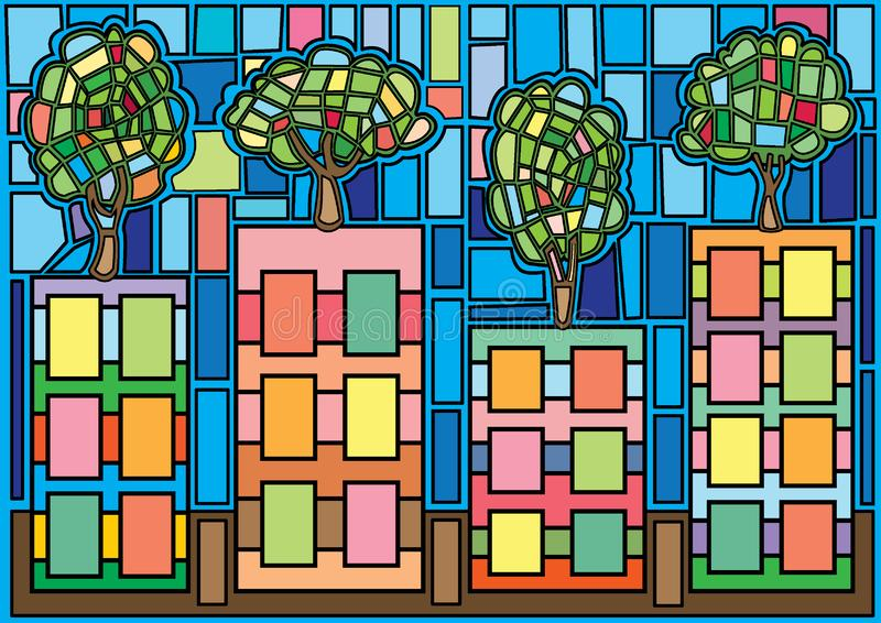 ?rvore no vitral de moses da cidade ilustração stock
