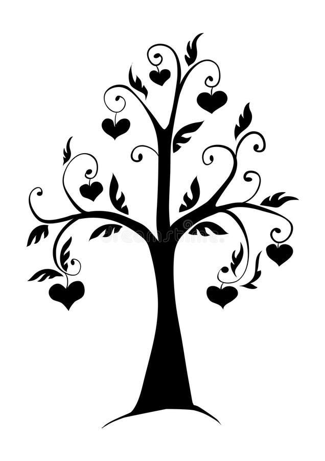 A árvore nos corações ilustração do vetor