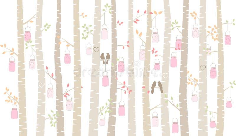 Árvore ou Aspen Silhouettes com periquitos e Mason Jar Lights de vidoeiro do dia do ` s do Valentim ilustração stock