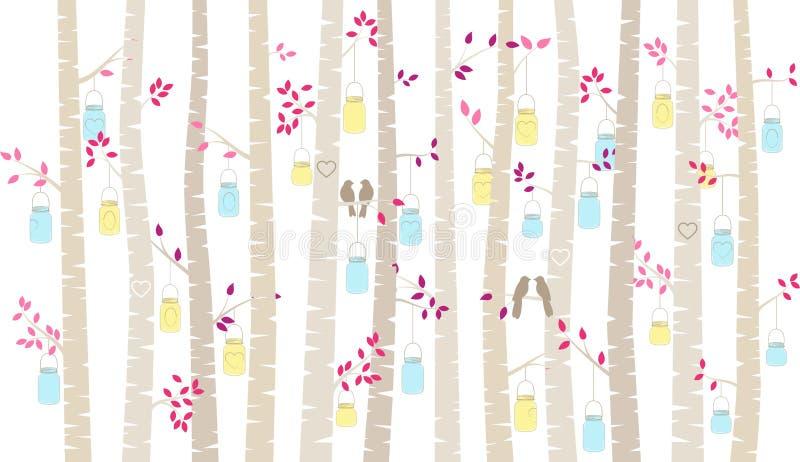 Árvore ou Aspen Silhouettes com periquitos e Mason Jar Lights de vidoeiro do dia do ` s do Valentim ilustração do vetor