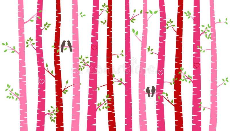 Árvore ou Aspen Silhouettes de vidoeiro do dia do ` s do Valentim com periquitos ilustração royalty free