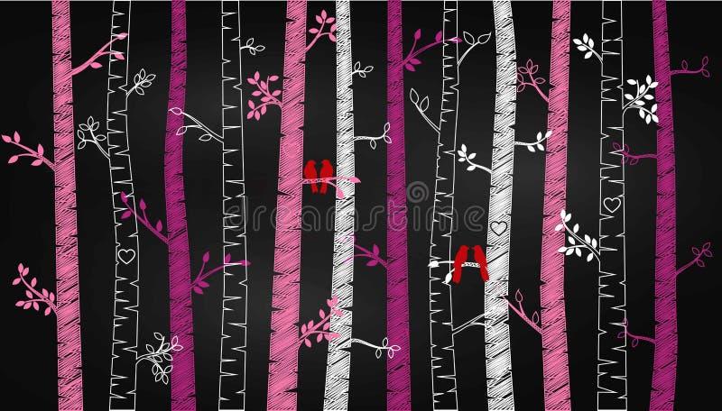 Árvore ou Aspen Silhouettes de vidoeiro do dia do ` s do Valentim do quadro com periquitos ilustração do vetor