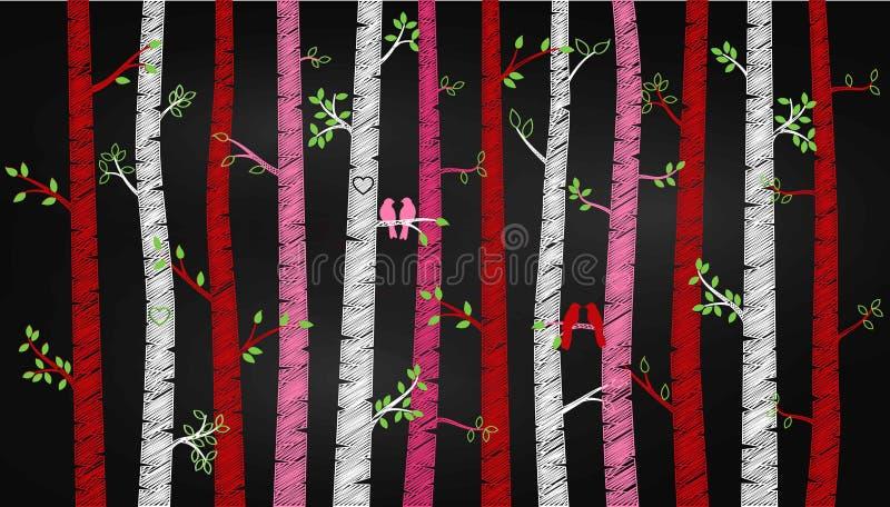 Árvore ou Aspen Silhouettes de vidoeiro do dia do ` s do Valentim do quadro com periquitos ilustração royalty free