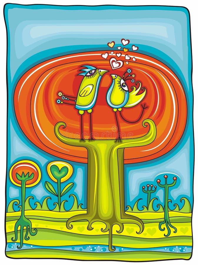 Árvore outonal - cartão do vetor ilustração royalty free