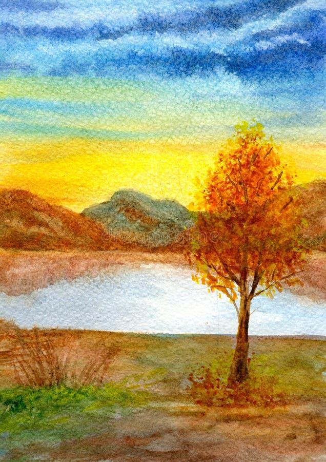 Árvore pelo lago ilustração stock