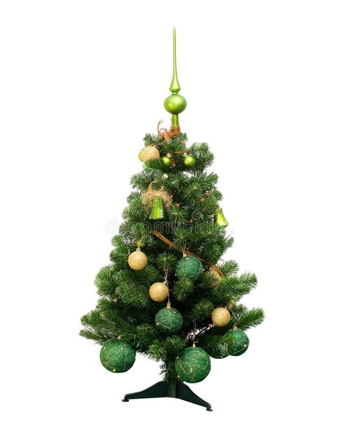 Árvore plástica de Chrismas com superior verde isolada no backgroun branco foto de stock