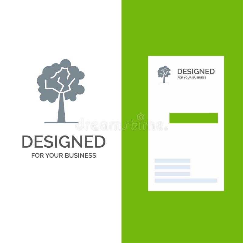 Árvore, planta, crescimento Grey Logo Design e molde do cartão ilustração royalty free
